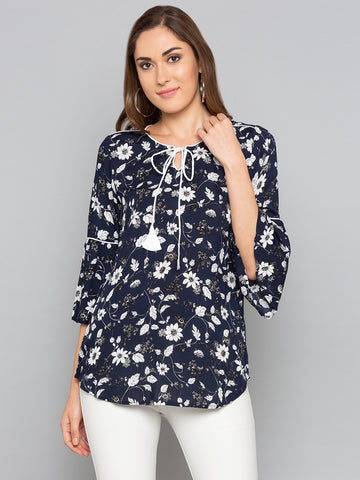 Navy Floral With Bell Sleeve Top