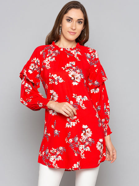 Red Floral Flounce Sleeves Top