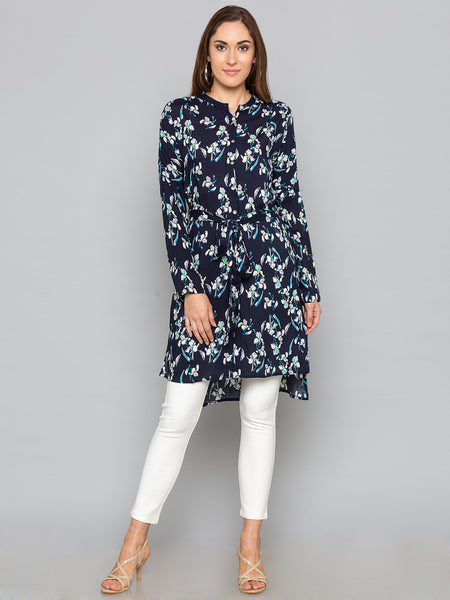 Navy Floral Long Top