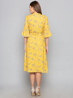 Yellow Floral High Neck Dress