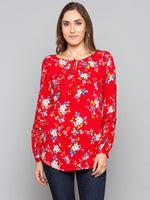 Red Floral Tassel Detail Neck Top