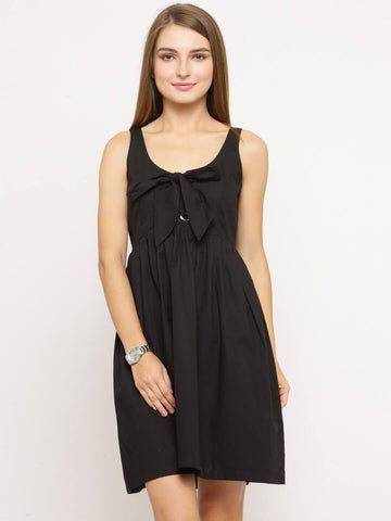 Women Black Solid Empire Dress