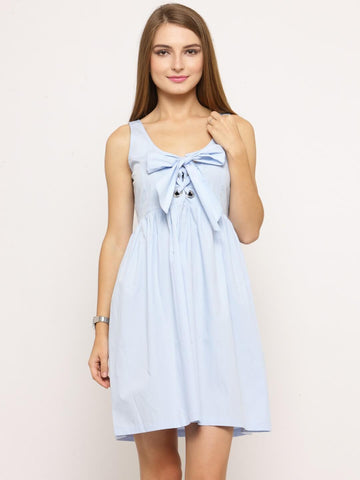 Women Blue Solid Empire Dress