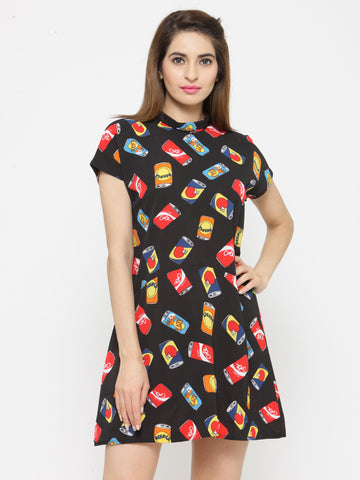 Women Black Printed Fit and Flare Dress