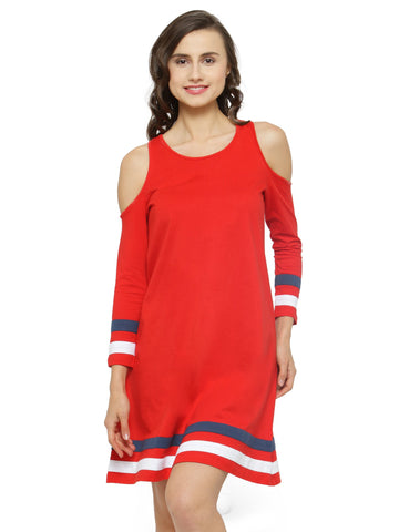 Women Red Solid A-Line Dress