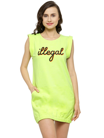 Women Lime Green Printed T-shirt Dress