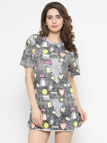 Women Charcoal-Coloured Printed T-shirt Dress