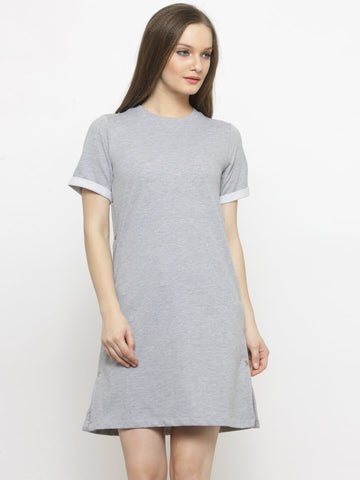 Women Grey Solid A-Line Dress