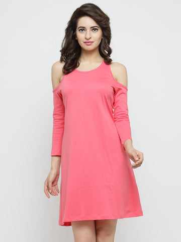 Women Pink Solid A-Line Dress