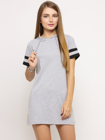 Women's Grey Melange Short Sleeves Dress With Hood