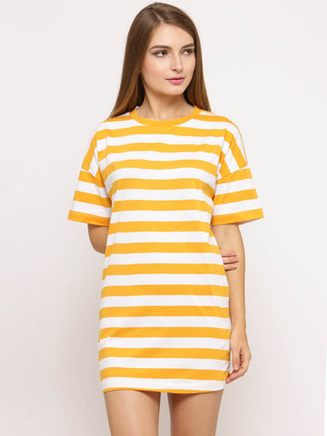 Women's Stripes Yellow Short Sleeves Dress