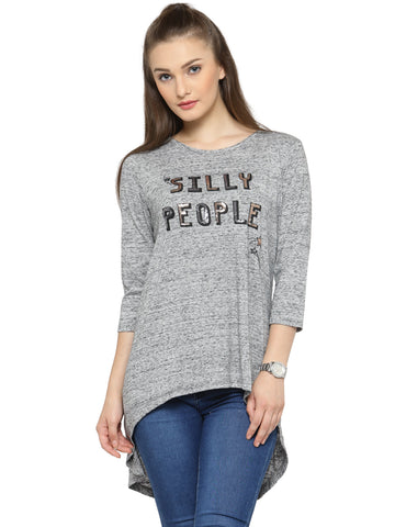 Grey High & Low Hem Sequin Logo Top