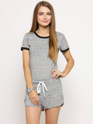 Grey Solid Playsuit