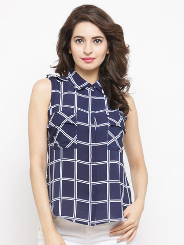 Women Navy Blue & White Regular Fit Checked Casual Shirt