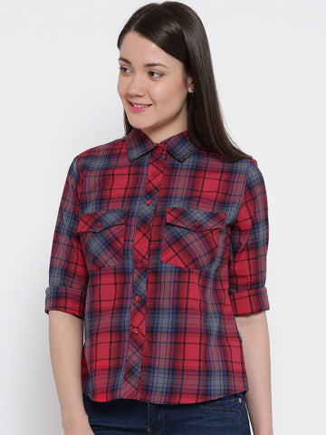 Women Coral Regular Fit Checked Casual Shirt