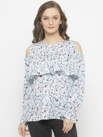 Women's Cold Shoulder Top With Frill