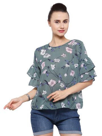 Women's Green Blouse With Ruffle Sleeves