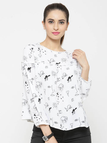 Women White Printed Top