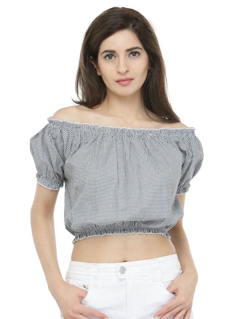 e05be86bb25 Grey & Black Checked Bardot Crop Top – Silly People