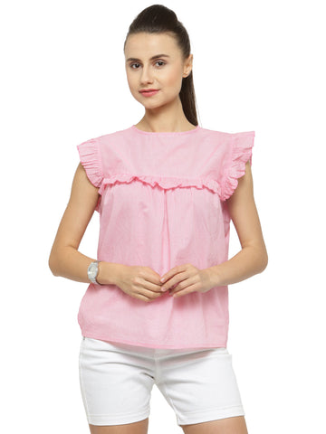 Women Pink Striped Top