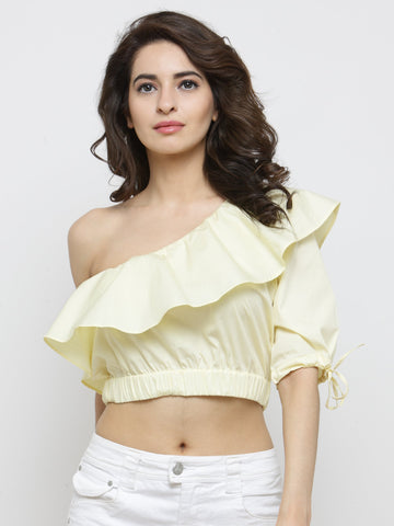 Yellow Fitted One Shoulder Top