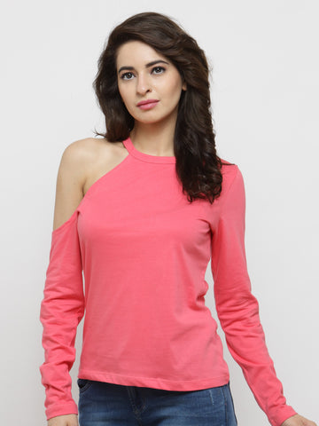 Pink Solid One Shoulder Top