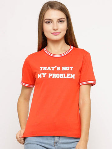 Women's T-shirt With Rib At Neck and Print At Front