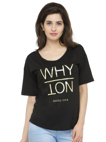 Women Black Printed Round Neck T-shirt