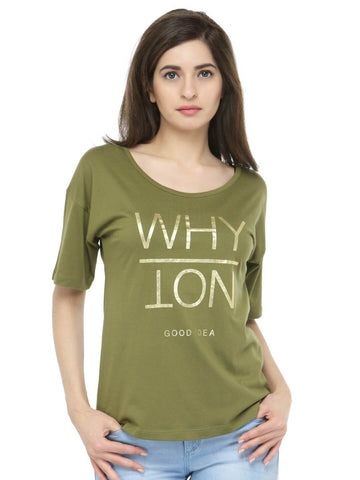 Women Olive Green Printed Round Neck T-shirt