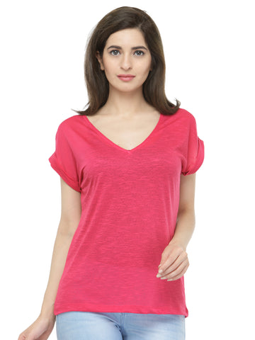 Women Pink V-Neck T-shirt