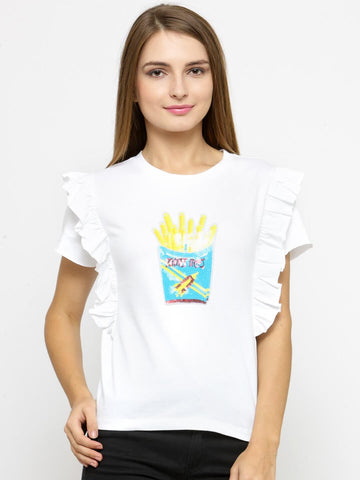 Women White Printed Round Neck T-shirt