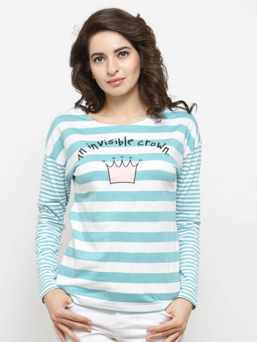 Women Sea Green Striped Round Neck T-shirt