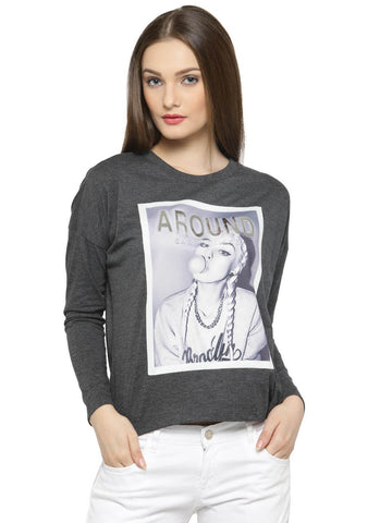 Women's Anthra Long Sleeves T-Shirt With Print Patch At Front