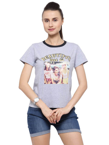 Women's  T-Shirt With Print Patch At Front
