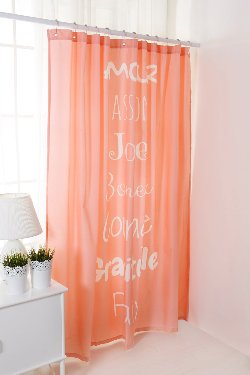 pink shower curtains. \u0027Amour Passion Joie\u0027 Pink Shower Curtain With Hooks - Motivop Collection (0820021) Curtains E