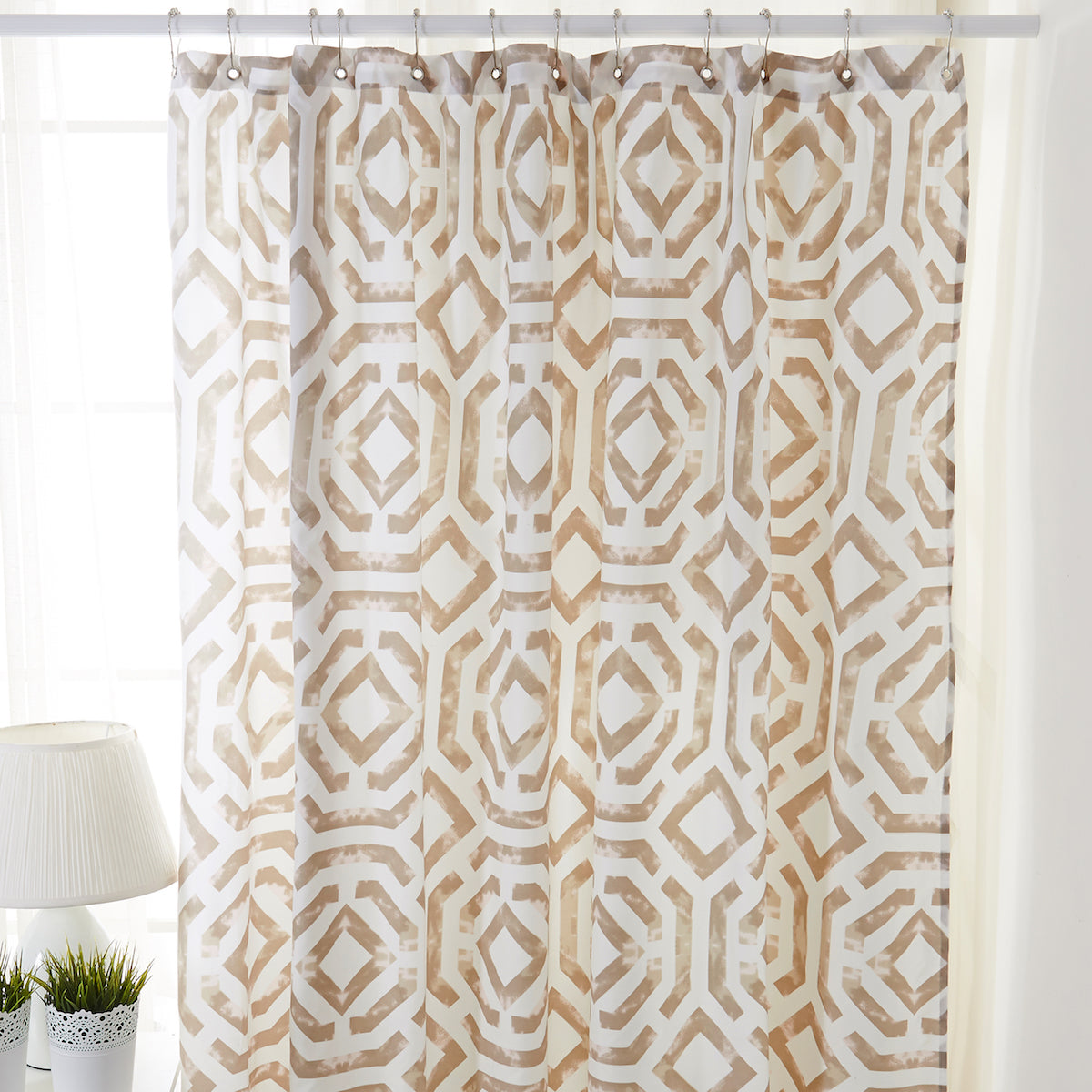 Taupe Beige And Pink Pattern Shower Curtain 0820032