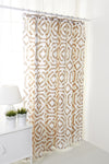 Taupe beige and pink pattern shower curtain (0820032)