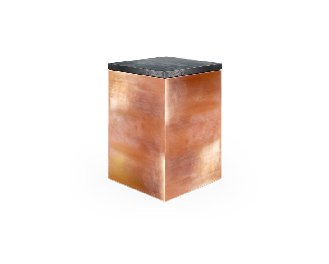 Cube coffee table, modern table, copper table