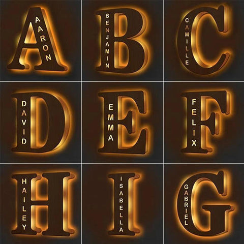 Wooden Engraved Name Wall Light Personalized Night Light(H 1.5 Feet x W 1 Feet)