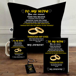 "Combo Gift Pack To My Wife (16"" x 16"" Inch Cushion Cover with Filler + Printed Mug + Greeting Card + Printed Key Ring)"