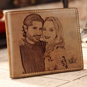 Personalized Photo Engraved Leather Men's Trifold Wallet