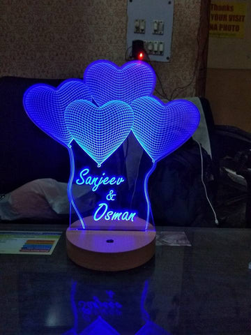 Personalized Heart Shaped 3D Illusion LED LAMP(9 Inches Height x 5-inch Width)