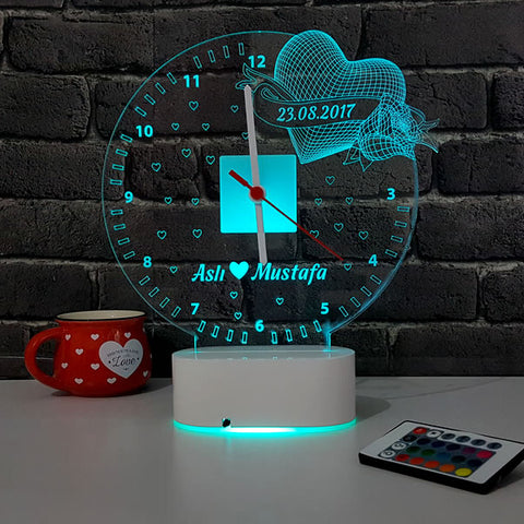 3D Personalized Romantic LED Lamp Clock