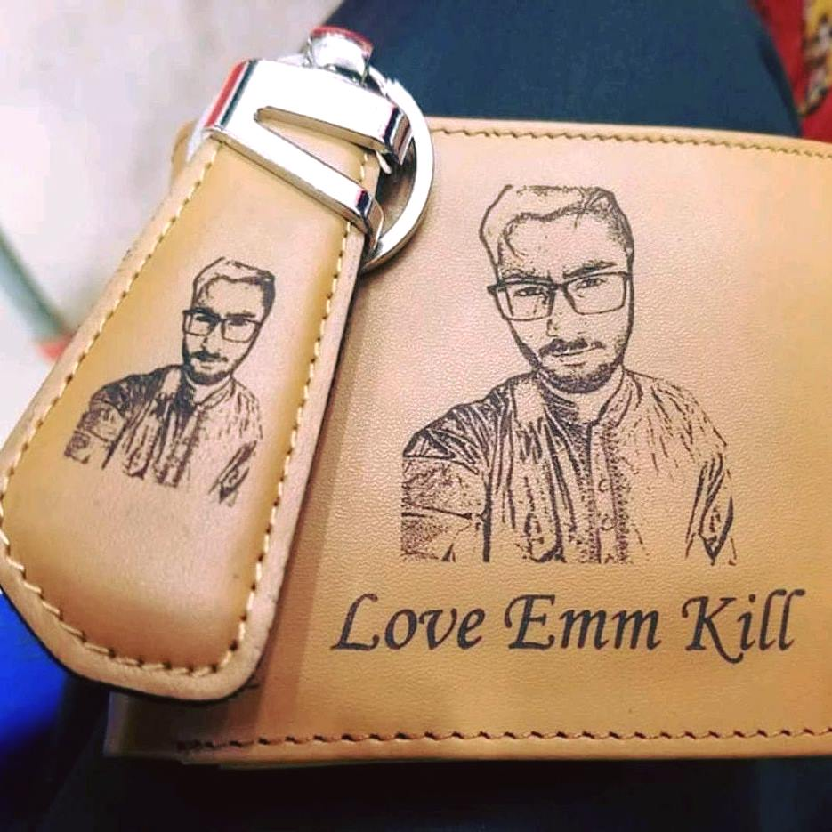 Customized Photo Leather Wallet Set (wallet+key-chain)