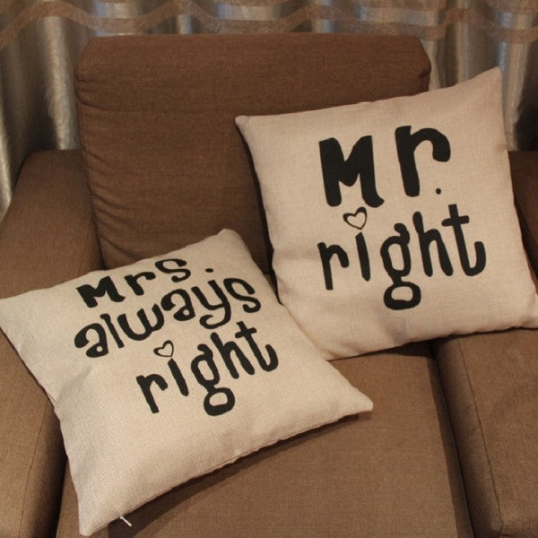 Mr.Right Mrs Always Right Pair Cushions