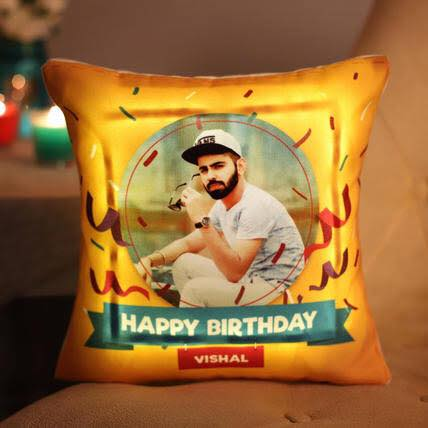 Personalised Led Cushion with Battery,( 18x18 Inches)