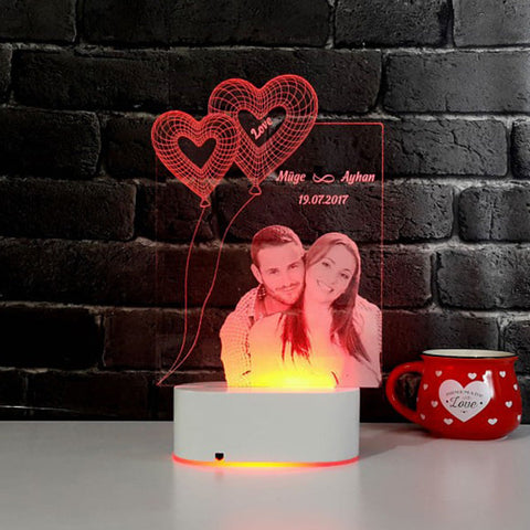 Personalized Photo 3D Illusion LED LAMP(9 Inches Height x 5-inch Width)