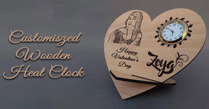 Custom Heart Shape  Wooden Clock Frame