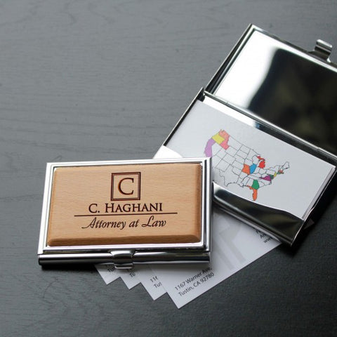 Name Engraved Wooden Business Card Holder