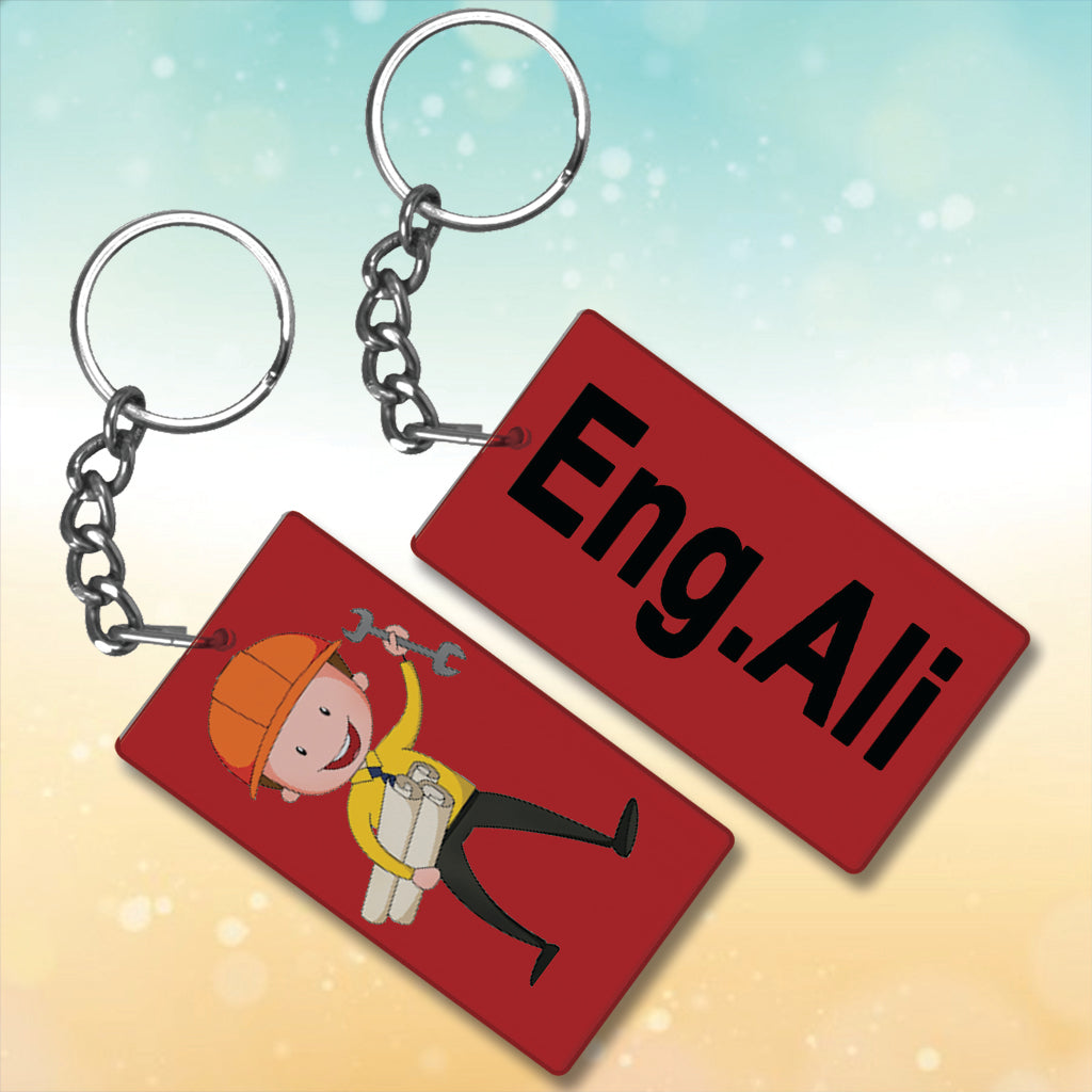 Engineer  Metal Key-Chain With Name